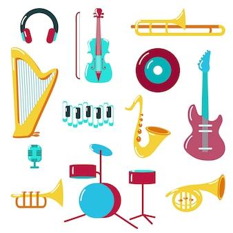 Icono de música establece estilo plano