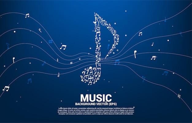 Icono de la música del vector en forma de nota clave de baile.