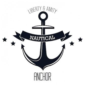 Icono náutico etiqueta emblema aislado