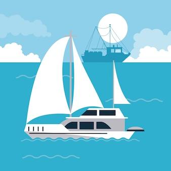 Icono de naves en el mar