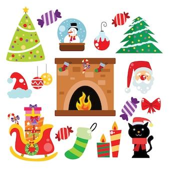 Icono de navidad, elementos y decoración