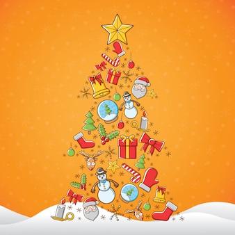 Icono de navidad en forma de pino con fondo amarillo