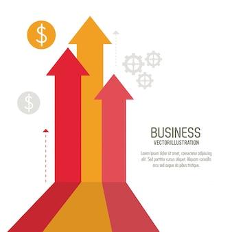 Icono de negocio de monedas de crecimiento de flecha