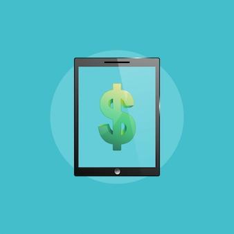 Icono de negocios, ilustración de computadora tablet pc