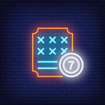 Icono de neón del billete de lotería.