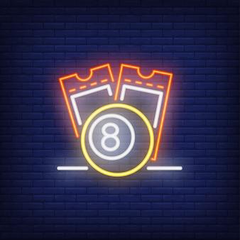 Icono de neón de los billetes de lotería.