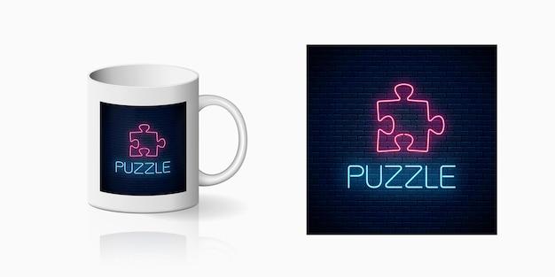 Icono de neón brillante de concepto lógico impreso para diseño de taza.