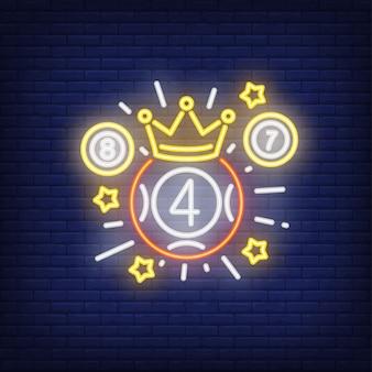 Icono de neón del ganador de la lotería.