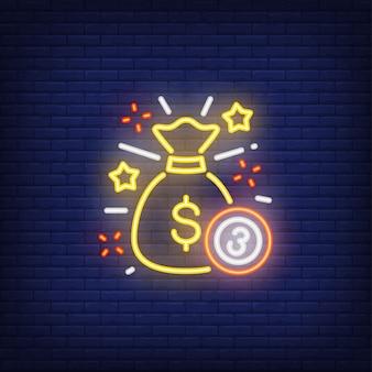 Icono de neón de jackpot