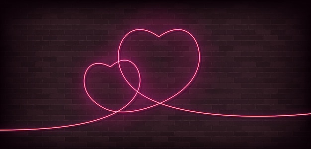 Icono de neón de una línea de dos corazones. arte de una línea, ilustración.