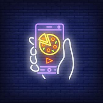 Icono de neón de pedido de pizza en línea