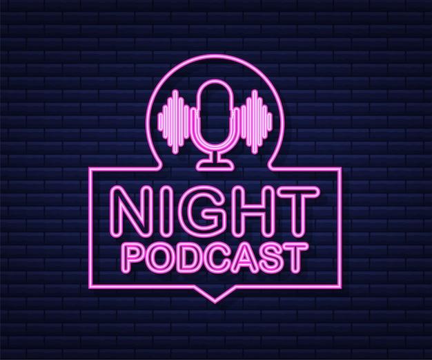 Icono de neón de podcast nocturno, símbolo de vector de estilo isométrico plano aislado sobre fondo blanco. ilustración de stock vectorial.