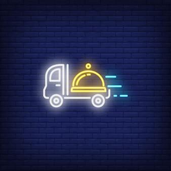 Icono de neón del servicio de comida a domicilio.