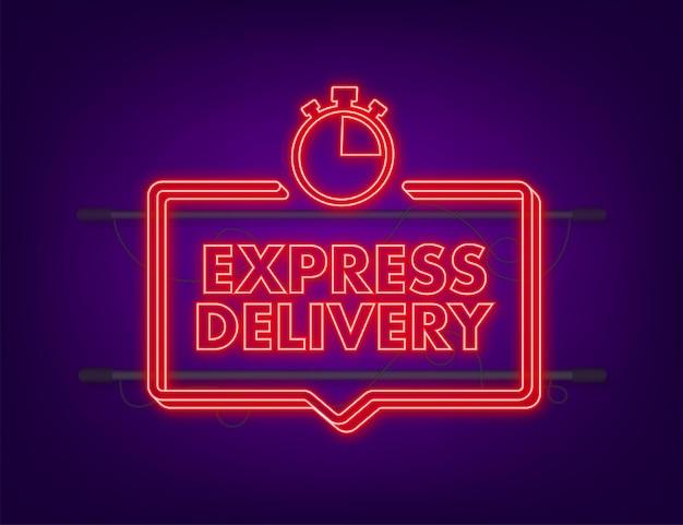 Icono de neón del servicio de entrega urgente. orden de entrega en tiempo rápido con cronómetro. ilustración de stock vectorial.