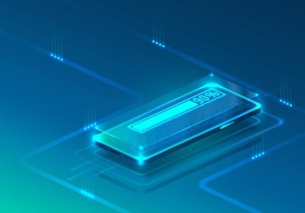 Icono de neón de teléfono de pantalla cargando moderno. fondo azul.