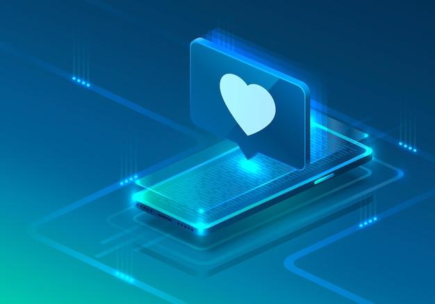 Icono de neón de teléfono de pantalla como corazón moderno. fondo azul.