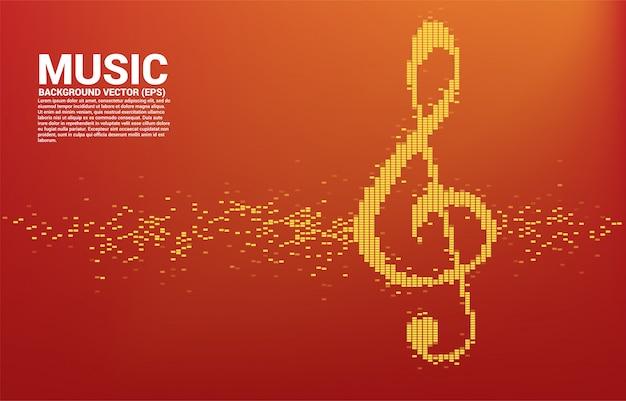 Icono de nota clave sol onda de sonido fondo del ecualizador de música