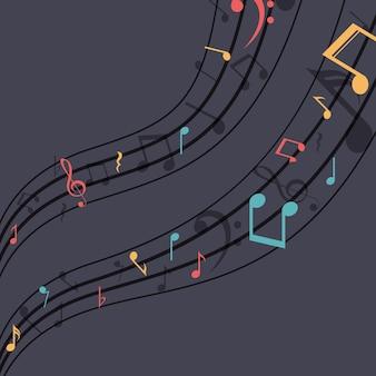 Icono de nota musical multicolor