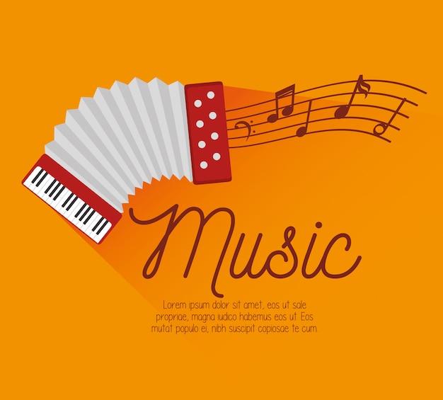 Icono de notas de acordeón de música de festival