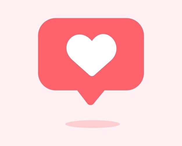 Icono de notificación de redes sociales en forma de corazón en la ilustración de vector de burbujas de discurso