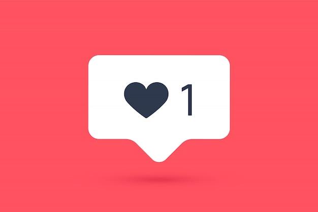 Icono de notificaciones me gusta, bocadillo. como icono con corazón