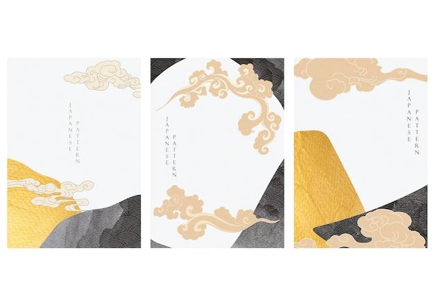 Icono de nube japonesa y fondo abstracto