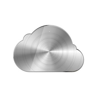 Icono de nube de metal brillante brillante redondo pulido en blanco