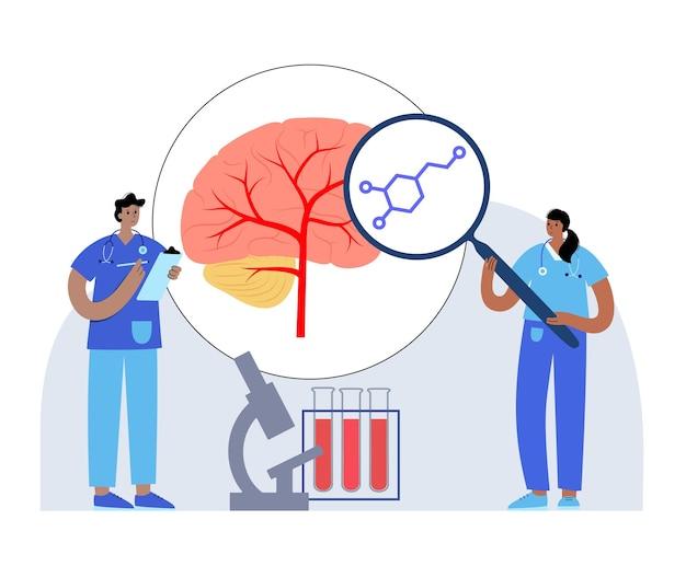 Icono o logotipo de la fórmula de dopamina. ilustración de vector de neurotransmisor y hormona monoamina