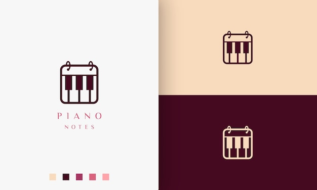Icono o logotipo de nota de piano simple y moderno