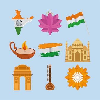 Icono de objetos tradicionales indios