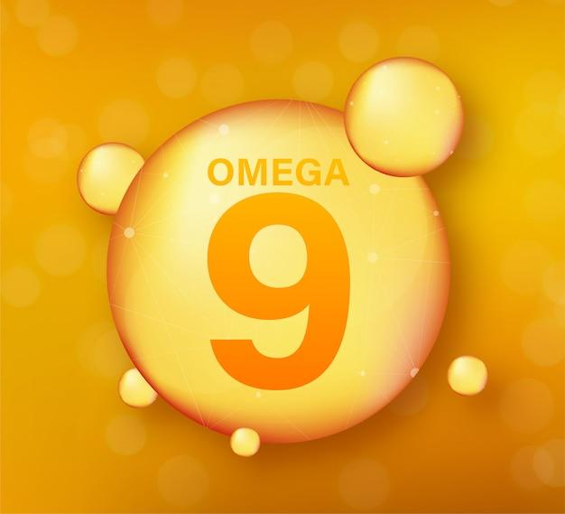 Icono de oro omega 9. cápsula de píldora de gota de vitamina. brillante gota de esencia dorada. ilustración.