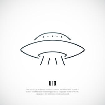 Icono de ovni en estilo de línea nave espacial extraterrestre