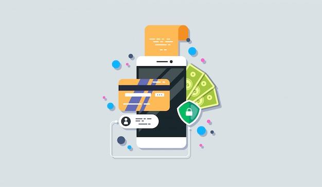Icono de pago de teléfono móvil en estilo plano.