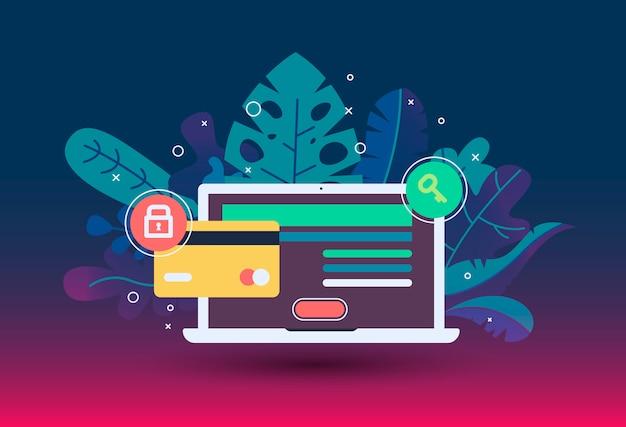 Icono de pago web en estilo plano. la tienda de internet, la tienda en línea, la compra en línea y el pago.