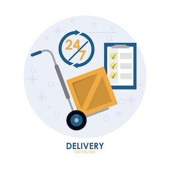 Icono de paquete y carrito