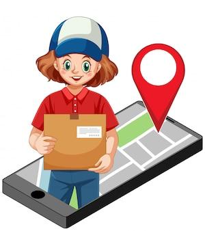 Icono de paquete de entrega de mujer