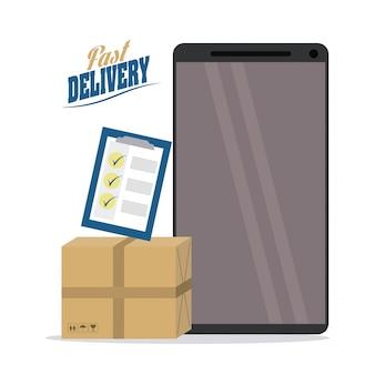 Icono de paquete y teléfono inteligente