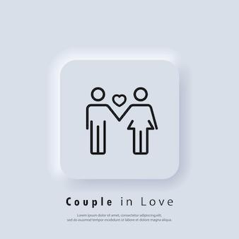 Icono de pareja de enamorados. logotipo de amor. concepto de amor y día de san valentín. vector eps 10. icono de interfaz de usuario. botón web de interfaz de usuario blanco neumorphic ui ux. neumorfismo