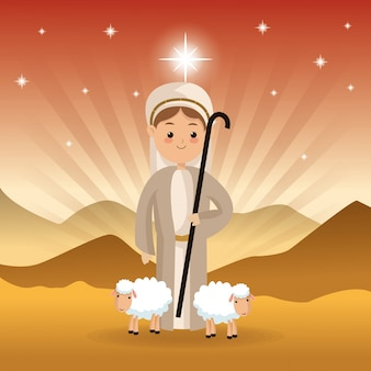 Icono de pastor y ovejas sobre el paisaje del desierto