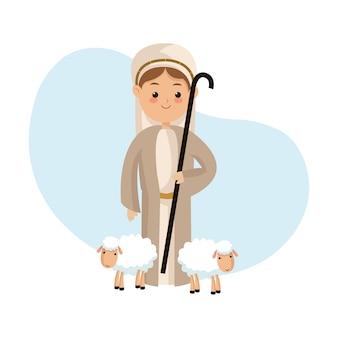 Icono de pastor sobre fondo aislado y plano
