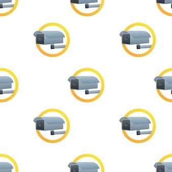 Icono con patrón de circuito cerrado de televisión sobre fondo blanco. símbolo de silueta. icono de cámara. etiqueta engomada de la señal de advertencia de precaución. ilustración de stock vectorial.