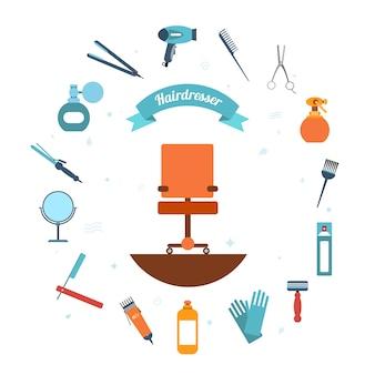 Icono de peluquería plana