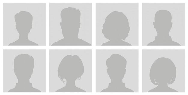 Icono de perfil de avatar predeterminado. marcador gris hombre y mujer