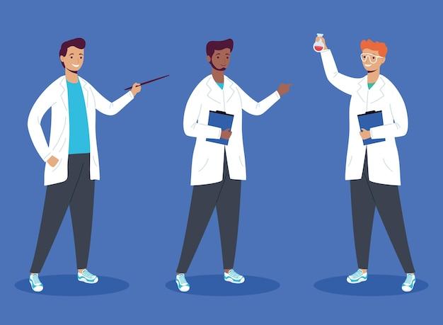 Icono de personajes de trabajadores científicos masculinos