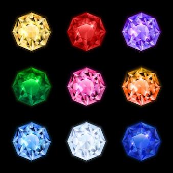 Icono de piedra preciosa de diamante realista coloreado y aislado en formas redondas y diferentes colores