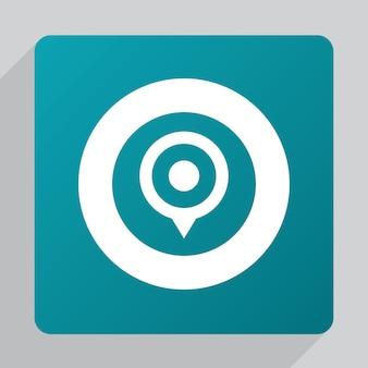 Icono de pin de mapa plano, blanco sobre fondo verde