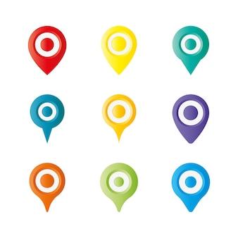 Icono de pin de mapeo colorido