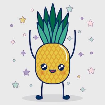 Icono de la piña kawaii