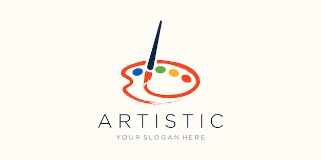 Icono de pincel y paleta diseño de logotipo acuarela