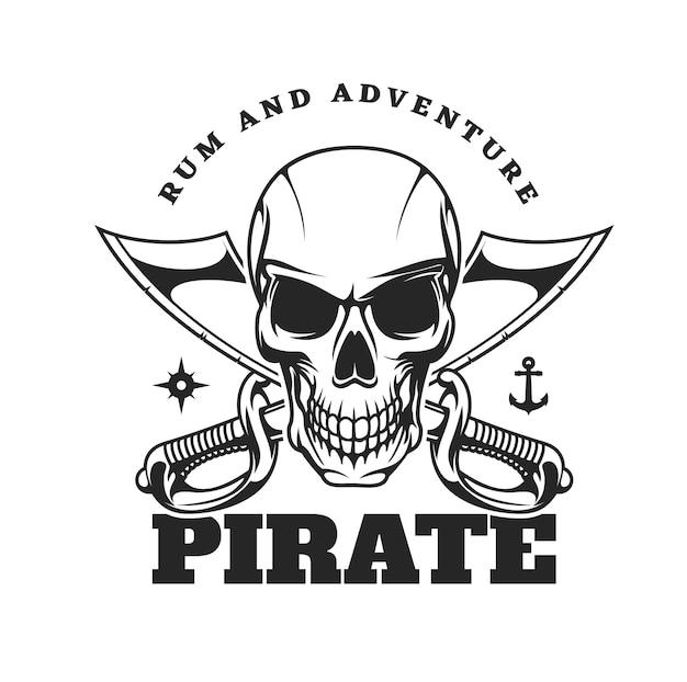 Icono pirata con cráneo aterrador y sables cruzados